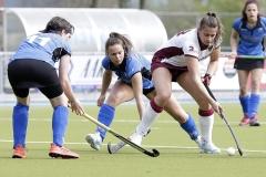 31-03-2019: Hockey: Vrouwen Basko v Waalwijk: VeldhovenL-M-R Simone Roothans van Basko en Eline Sanders van Basko en Pien Pulles van HC Waalwijk